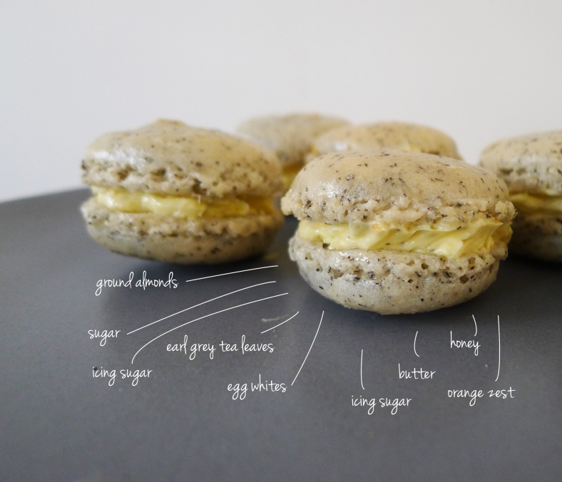 earl grey orange honey macarons
