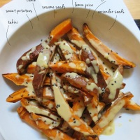 Roasted Sweet Potatoes with Tahini Dressing