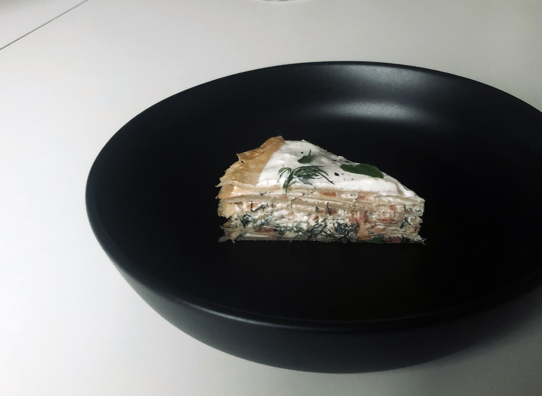 smoked salmon crepe cake